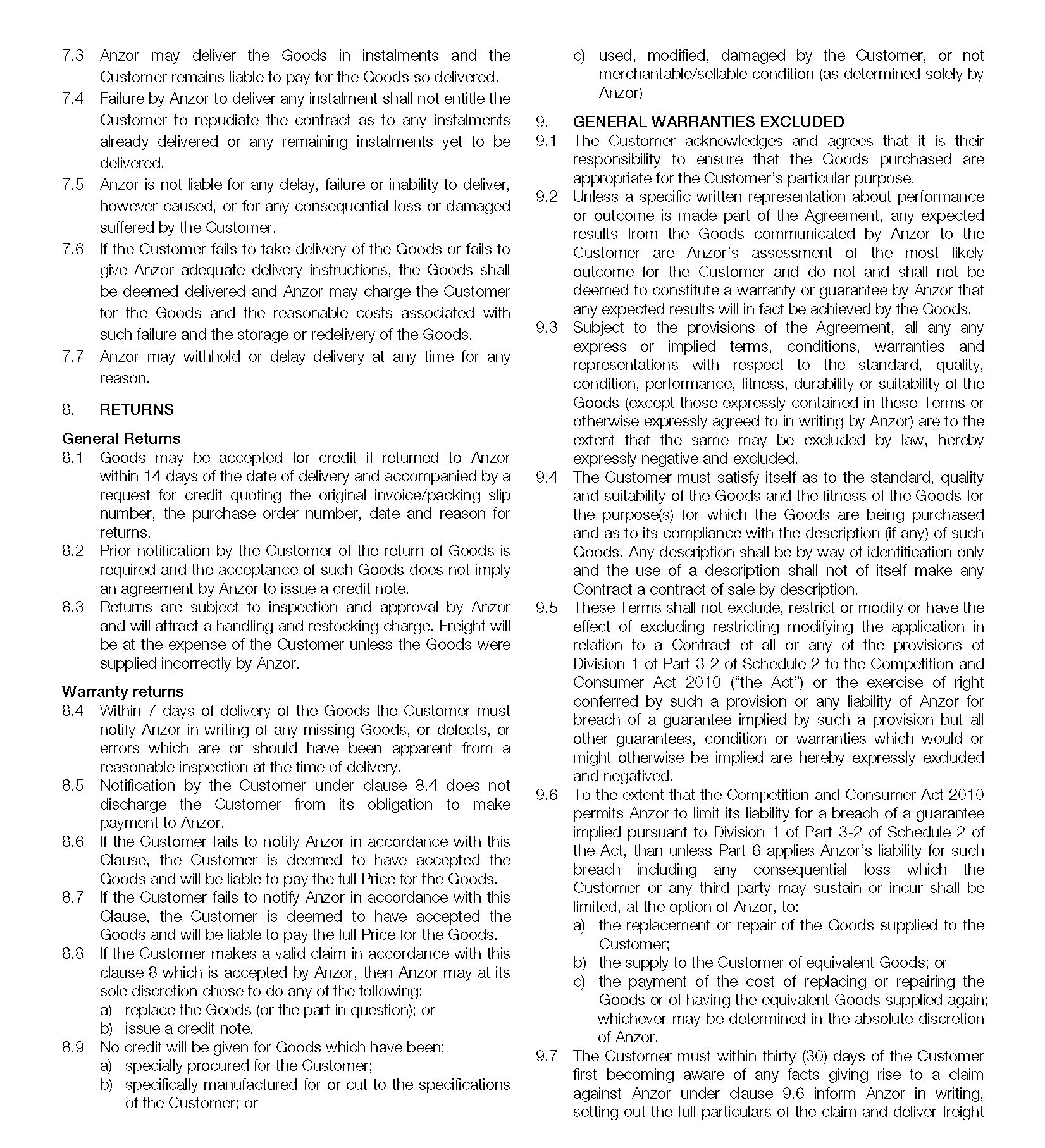 Conditions Of Trade Australia Page 2