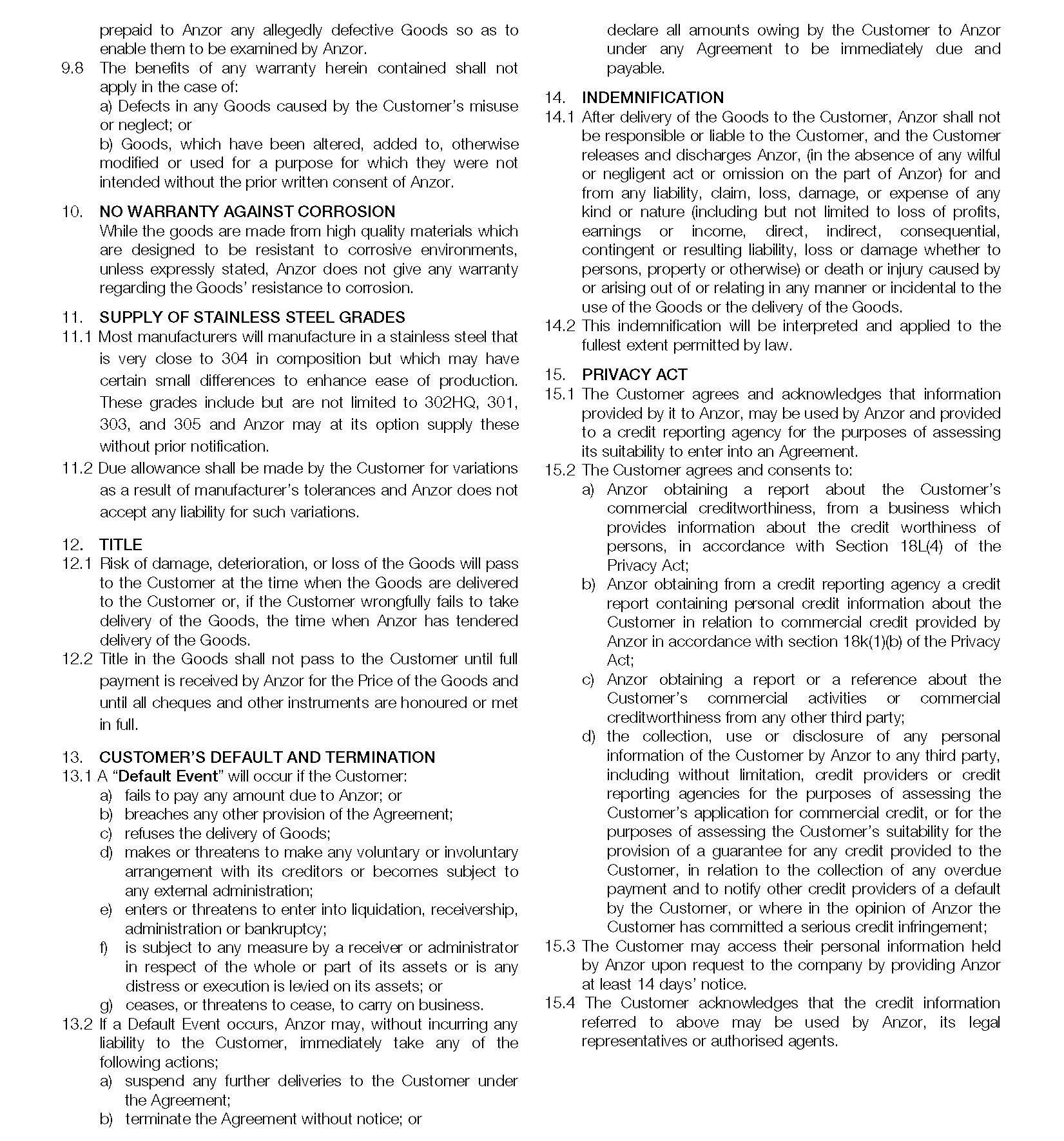 Conditions Of Trade Australia Page 3